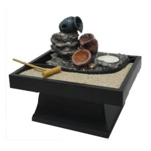 Fuente de agua feng shui con jard n zen - Fuentes zen para jardin ...