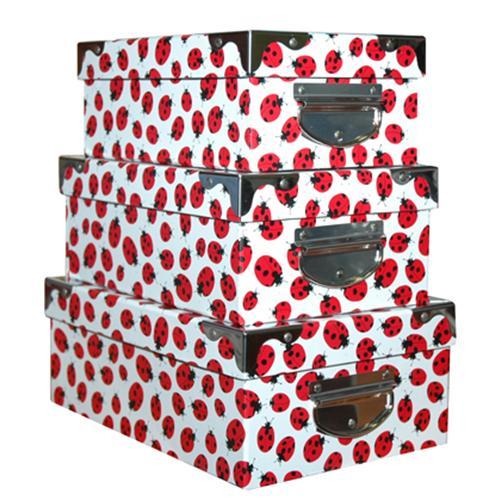 Cajas decorativas mariquitas 3 unidades - Cajas de almacenaje decorativas ...